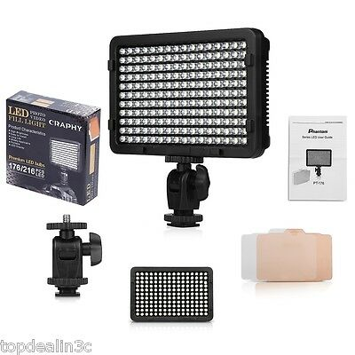 Pro 176 LED Ultra-Compact Video Light Panel Dimmable 5600K for Canon DSLR Camera