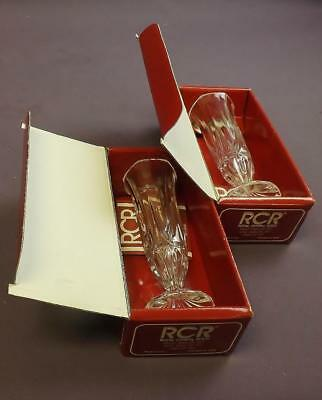 2 x RCR Royal Crystal Rock Bud Vases 24% Lead Crystal Made in Italy With Boxes