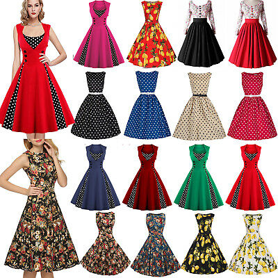 Women Floral 1950s 60s Rockabilly Housewife Pinup Dress Cocktail Party Plus Size