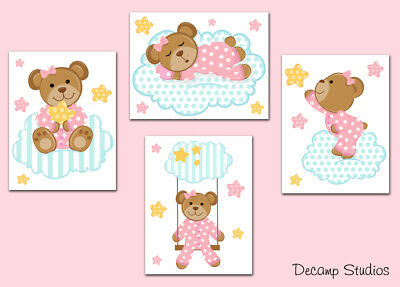 Woodland Baby Nursery Pink Teddy Bear Girl Wall Art Prints or Decals Stickers