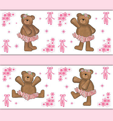 Pink Ballerina Teddy Bear Wallpaper Border Wall Art Decals Girl Nursery Stickers