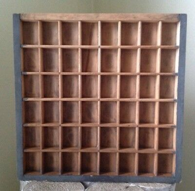 """Vintage Antique SMALL Wooden Printers Tray Drawer Shadow Box 12.5"""" X 12.5"""""""
