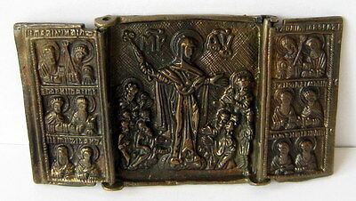 Antique Russian Icon With Virgin Mary Rare Small Bronze Triptych # 13C