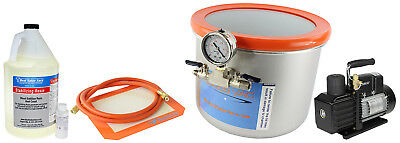 GlassVac 3 Gallon SS Wide Vacuum Chamber, Resin, and VE225 4CFM 2 Stage Pump Kit