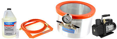Glass Vac 2 Gallon Aluminum Chamber, Resin, and VE225 4CFM 2 Stage Pump Kit
