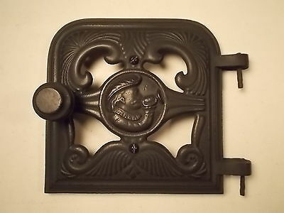 Vintage Antique Clarion Cast Iron Furnace Stove Door Clean Nice Detail!!