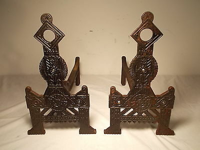 Circa 1876  Cast Iron East lake Style Andirons Ornate Victorian Gothic Accents
