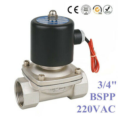"3/4"" BSPP Stainless Steel 304 Normally Closed Electric Solenoid Valve 220V AC"