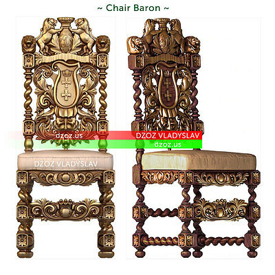 Wood carved 3d - Chair Baron - table - bed - picture - icon - on - order