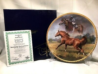 Fred Stone Plate The Final Tribute SECRETARIAT Signed by Ron Turcotte + Frame