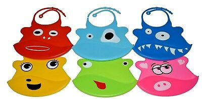 Waterproof Silicone Baby Bibs Crumb Catcher Pocket Wipeable Feeding Bibs Toddler