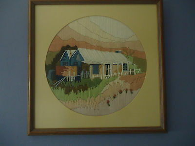 Pretty Vintage Completed Longstitch Picture *Lovely Country Homestead *Framed