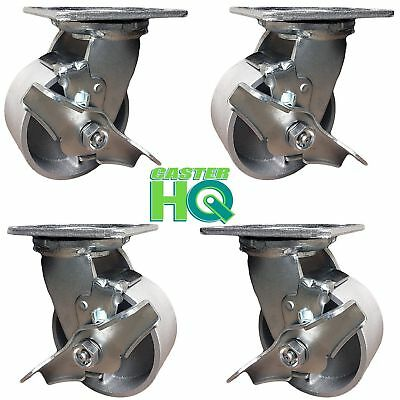 CasterHQ - 4 inch x 2 inch Steel Swivel Casters w/Brakes - Set of 4 - Commercial