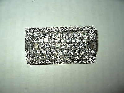 Large Vintage Art Deco Silvertone & Clear Rhinestone Rectangle Brooch Pin