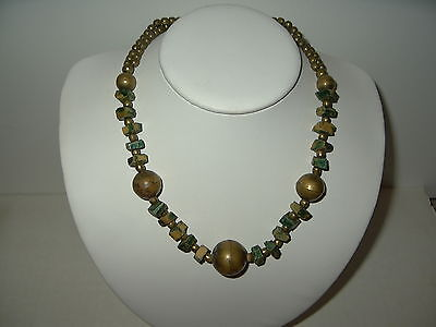 Vintage Antique Victorian Art Deco Brass & Square Green/Gold Bead Necklace