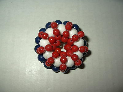Vintage Goldtone & Red-White-Blue Plastic Bead Round Brooch Pin