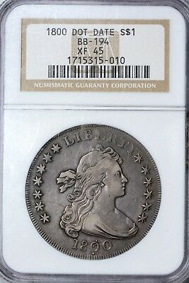 1800 BB-194 Dot Date Bust Dollar NGC XF 45 Nice Original Coin