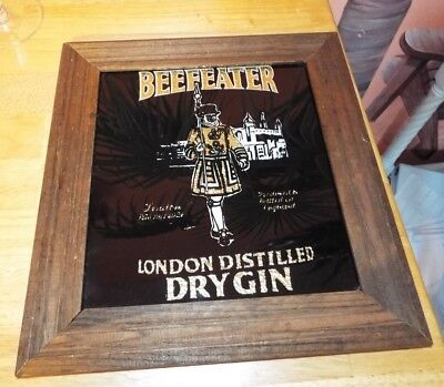 Vintage Beefeater Gin Mirror Wood Sign Framed Advertising. Gold Foil. Rare Find!