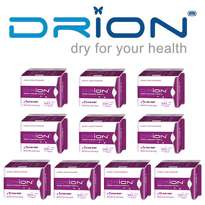 DRION Negative Ion Far Infrared Menstrual Sanitary NIGHT PADS 10 PACK - 80 PADS