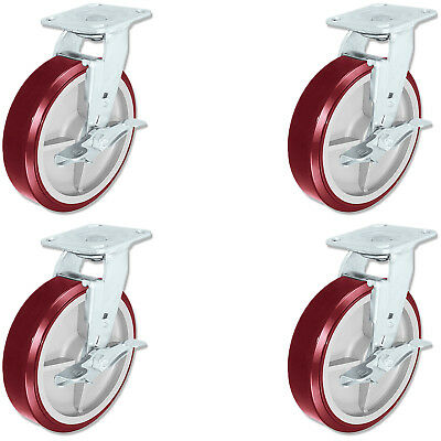 CASTERHQ - 8 inch X 2 inch Poly. Swivel Casters with Brakes (4) Ergonomic Wheel