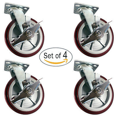 CASTERHQ - 8 inch X 2 inch Poly. Swivel Casters with Brakes (4) Grease Zerk