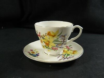 Healacraft Bone China Teacup/Saucer England Spring Flowers Daffodil, Iris, Gold