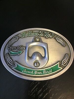 Bottom's Up! Belt Buckle Quench Your Thirst Built In Bottle Opener