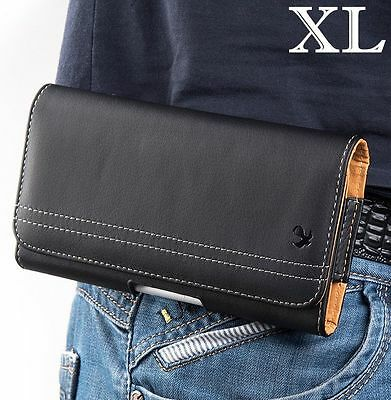 SAMSUNG GALAXY S9+ PLUS - Black Leather Belt Clip Horizontal Pouch Holster Case