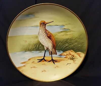 Vintage Hand Painted Limoges Bird Plate Artist Signed water bird collector