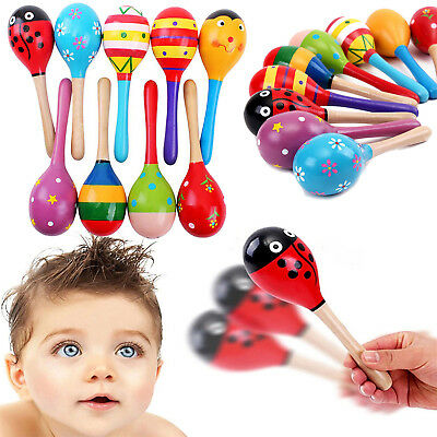 Kids Baby Toddler Wooden Toy Maracas Rumba Shakers Musical Party Rattles Gift YH