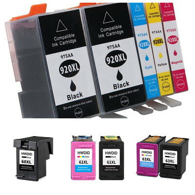 61XL 60XL 63XL 920XL 564 62XL Combo Ink Cartridge Black or Color For HP Printers