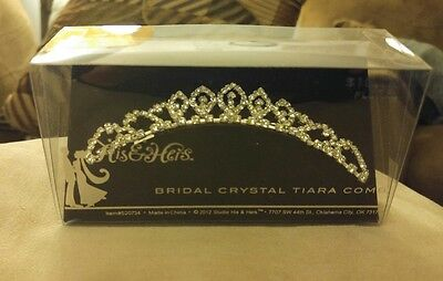 New Studio His & Hers Bridal Crystal Tiara Comb Sparkly Still in Box Beautiful