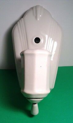 Vintage Art Deco White Porcelain Wall Sconce Light Fixture All Original