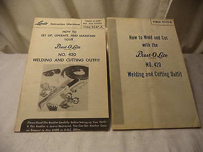 2 Vintage Linde Prest O Lite  Welding Instructions Manuals  How To 420 Outfit
