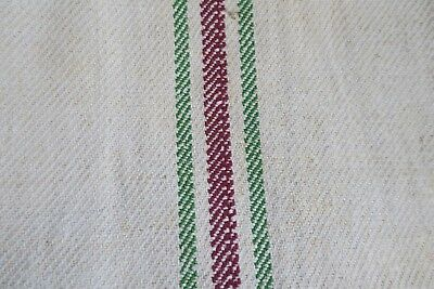 Antique European Hemp Grain Sack Beautiful Red and Light Green Stripes