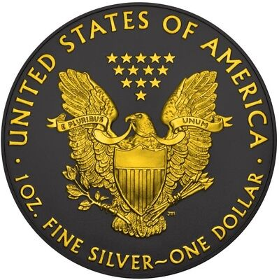2016 1 Oz Silver AMRICAN EAGLE SHADOW Ruthenium Coin, 24Kt Gold Gilded.