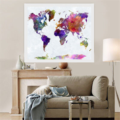 World Map Modern Wall Oil Canvas Painting Art Print Picture Home Decor Unframed