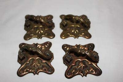 4 Antique Square Embossed Brass Drawer Pulls Very Unusual