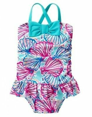 NWT Gymboree Girls Shell Swimsuit 1 PC Toddler 12-18 M 2T 3T 4T