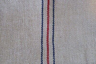Antique European Hemp Grain Sack Beautiful Red and Blue Stripes