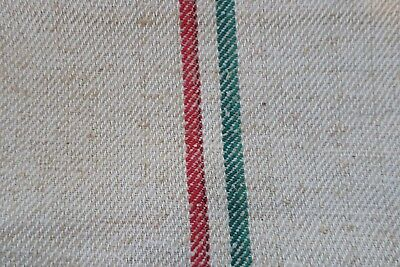 Antique European Hemp Grain Sack Beautiful Red and Green Stripes