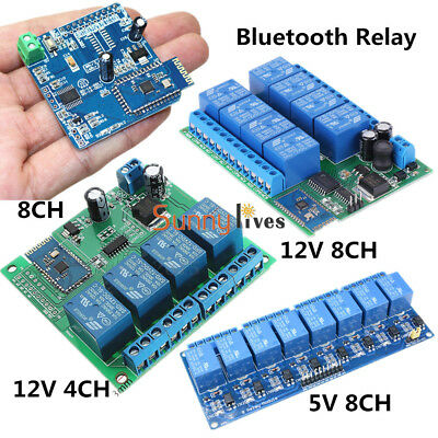 12V 4/8CH Android Bluetooth Relay Board Wireless Control Remote+Switch Module