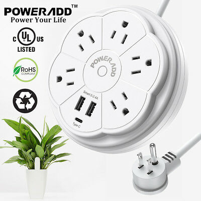 5 Outlet Power Strip Surge Protector With 2 USB Wall Charger Port Lightningproof