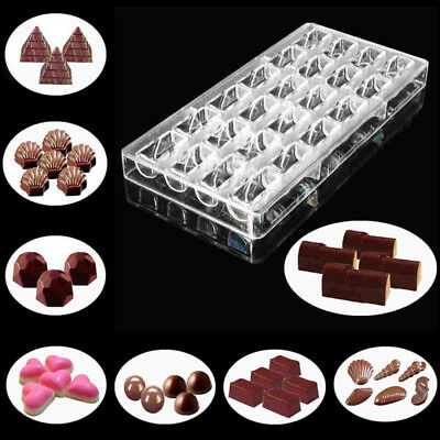 3D Polycarbonate Clear Chocolate  Mold Candy Jelly Cookie Cake Mould Tray Tools