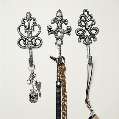 Shabby Chic Cast Iron Decorative Wall Hooks - Rustic - Silver - Antique - French