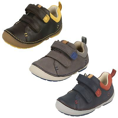 BOYS CLARKS NAVY COMBI RIPTAPE TRAINERS CASUAL FISRT WALKING SHOES SOFTLY LEE