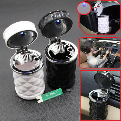 White Auto Cigarette Ash Cup Portable Car Holder Ashtray with LED Light Travel