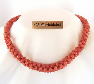 Korallen Kette Collier 585 er Gold Koralle old coral necklace / AH 742