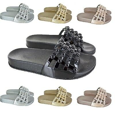 Womens Flat Studded Cage Sliders Ladies Summer Beach Comfy Slip On Shoes Sz 3-8