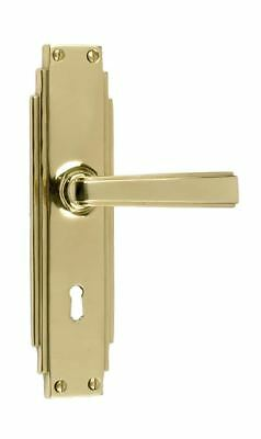 Pair of Polished Brass Edwardian #Lever Door Handles With Keyhole